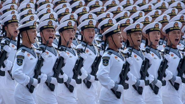 Desfile de marinheiros em desfile militar em Pequim, 201
