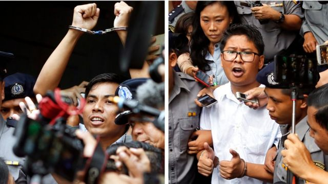 Kyaw Soe Oo (left) and Wa Lone after the verdict