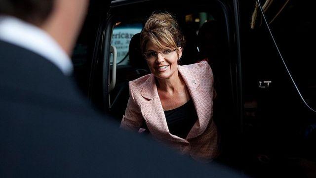 Sarah Palin llegando a Trump Tower