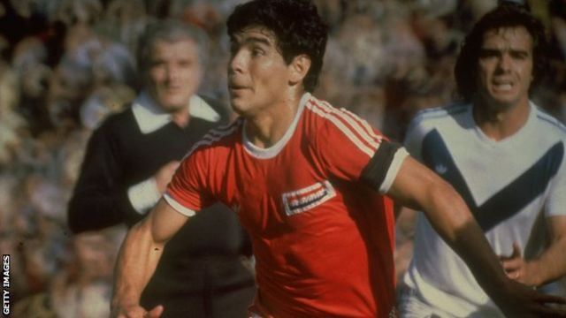 Diego Maradona playing for Argentinos
