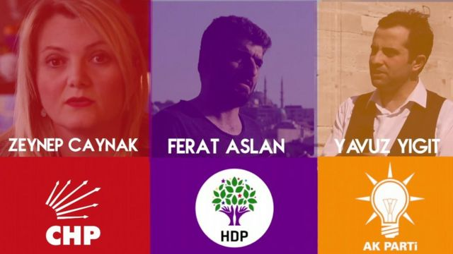 Composite image of three interviewees and party branding