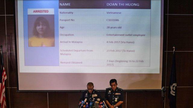 Hình của cảnh sát Malaysia công bố ghi rõ số hộ chiếu C1031046 của nghi phạm và ngày đến từ Hà Nội