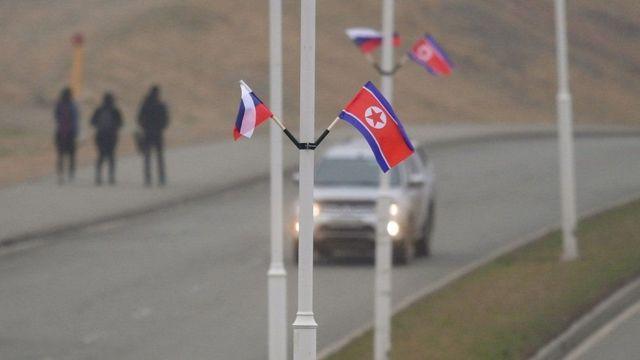 Ведущие к территории университета дороги накануне украсили флагами Северной Кореи и России