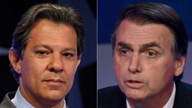 Fernando Haddad (à esquerda) e Jair Bolsonaro (à direita)