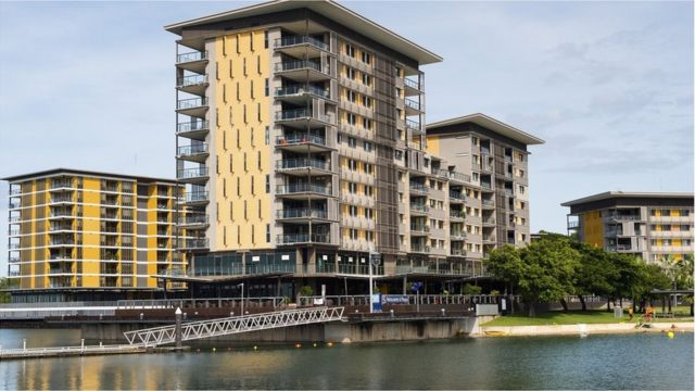 Modern apartment blocks at Waterfront complex, Darwin, Northern Territory, Australia.