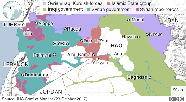 Map showing control of Syria and Iraq (23 October 2017)