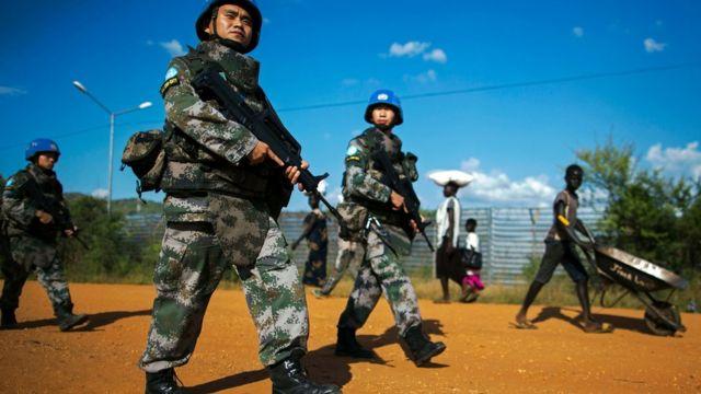 جنود صينيون في قوة حفظ السلام التابعة للامم المتحدة في جنوب السودان