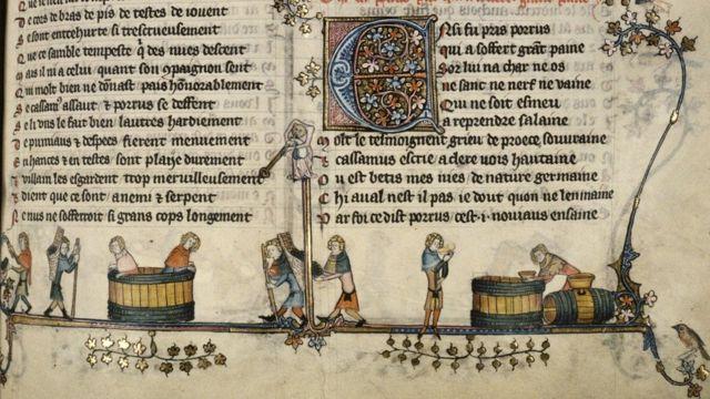 Hermosa ilustración de la elaboración del vino de un manuscrito flamenco iluminado del siglo XIV, donde los contadores usaban números cistercienses.