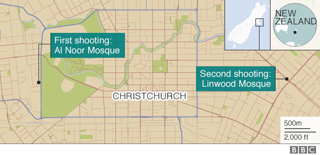 Map of the location of the shootings