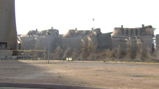 Grain Power Station boiler houses demolished - BBC News