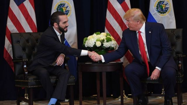 Nayib Bukele y Donald Trump se dan la mano
