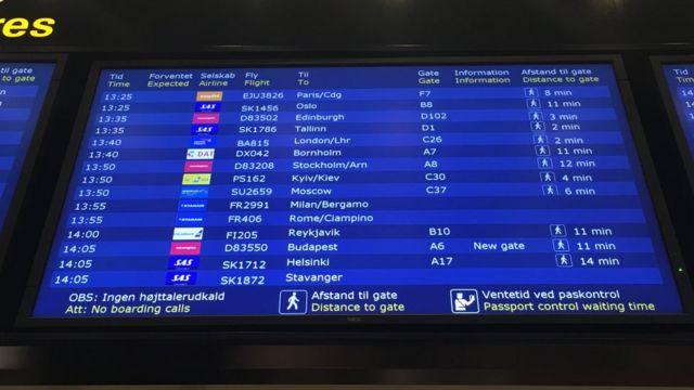 Копенгаген аеропорт табло