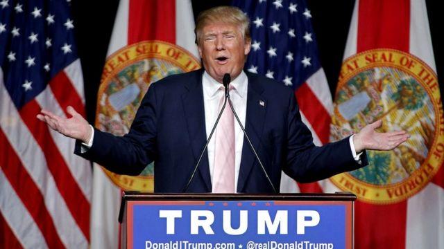 Donald Trump, durante un discurso de campaña en El Doral, Florida.
