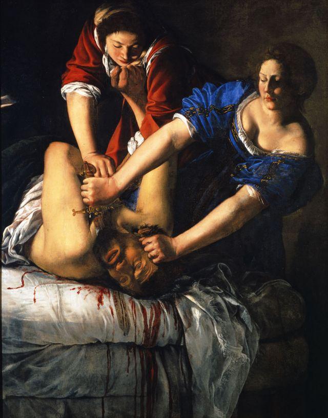 """""""Giuditta che decapita Oloferne"""" (Judith decapitando a Holofernes), de Artemisia Gentileschi, de 1620-21 ca. Óleo sobre lienzo, 199 x 162.5 cm."""