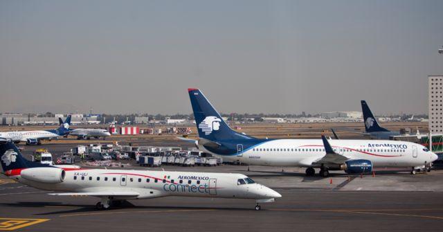 Aviones en el Aeropuerto Benito Juárez.