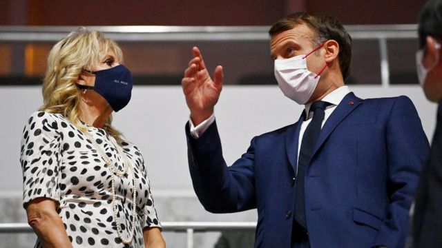 U.S. First Lady, Jill Biden and French President Emmanuel Macron are seen prior to the Opening Ceremony of the Tokyo 2020 Olympic Games at Olympic Stadium on July 23, 2021 in Tokyo, Japan.