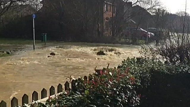 The flooding started on Stanier Way in Hedge End, near Southampton