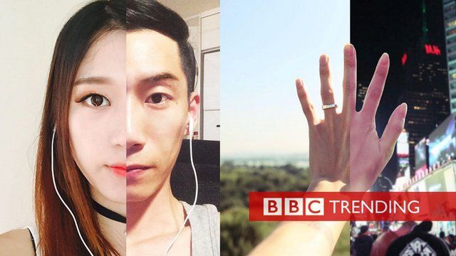 Two separate composite images showing two halves of a couple's face, and two halves of one of their hands