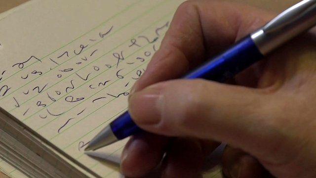 Mary Sorene writing shorthand