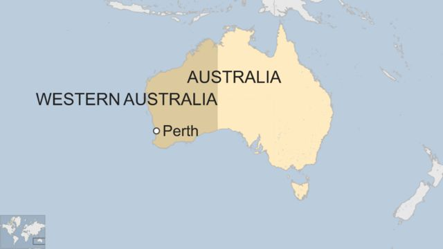 A map showing Perth in Western Australia