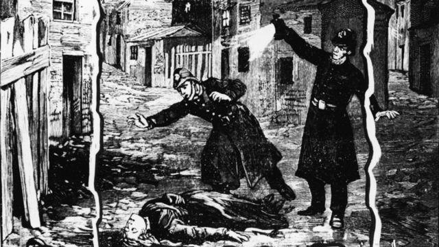 ilustração da polícia encontrando o corpo de uma mulher