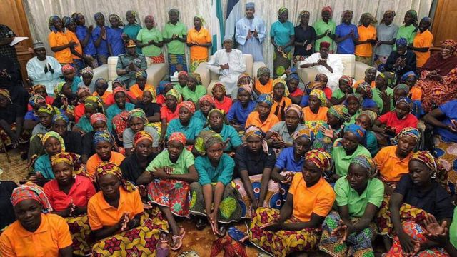 Algunas de las 82 chicas liberadas de Boko Haram