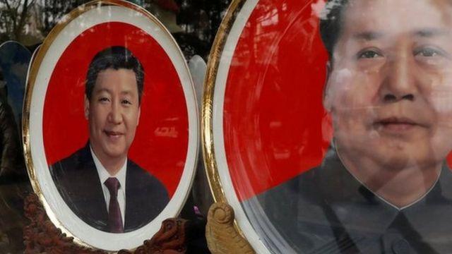 習近平與毛澤東畫像的瓷盤