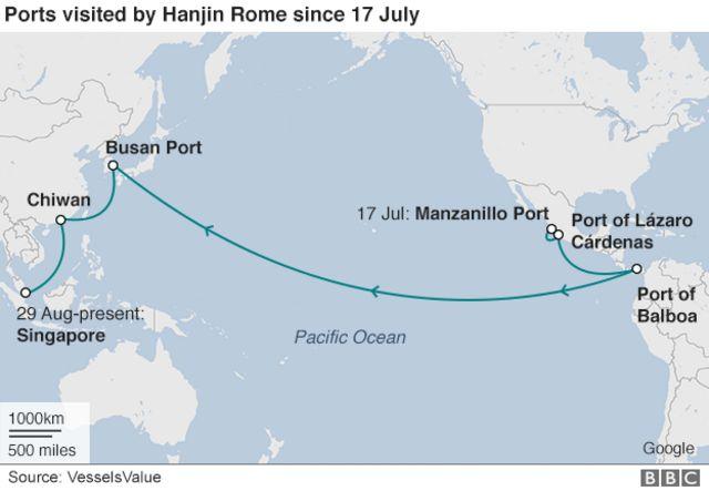 韓進ローマ号のシンガポールに到着するまでのルート