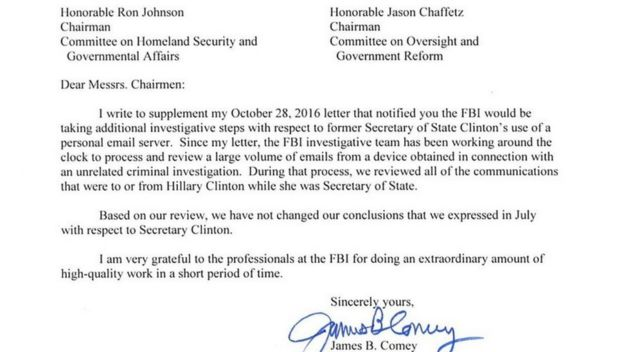 Comey's letter