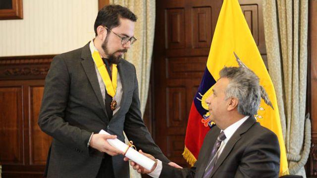 Gronneberg con el presidente Lenín Moreno