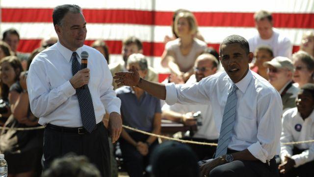 Tim Kaine y Barack Obama