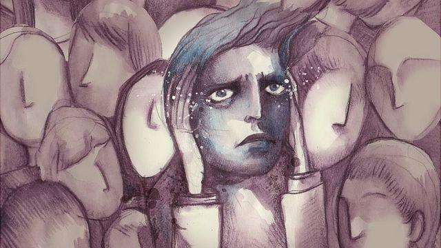 Ilustración de un chico en multitud