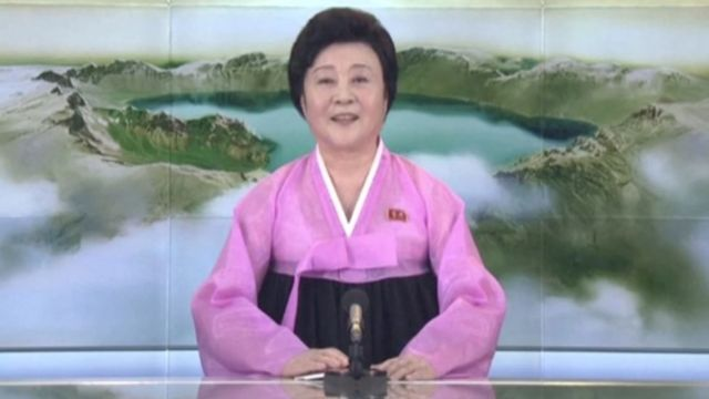"A presenter makes a special announcement on North Korea""s state-run television after the country launched a missile, in this still image taken from a video released by KRT, 29 November 2017."