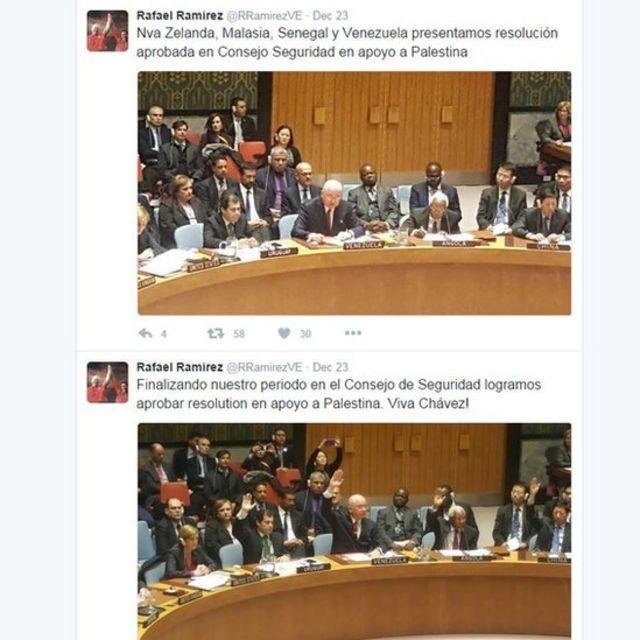 Página de Twitter de Rafael Ramírez, embajador de Venezuela ante la ONU