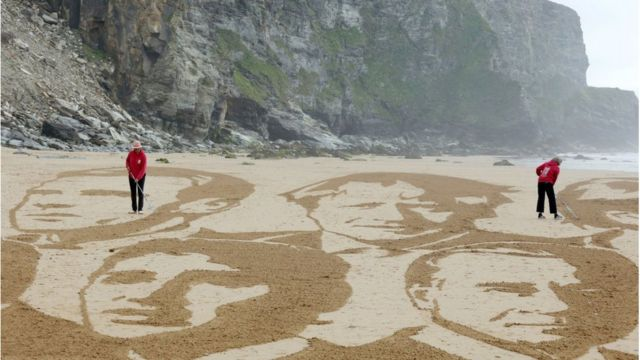 Activists on a beach