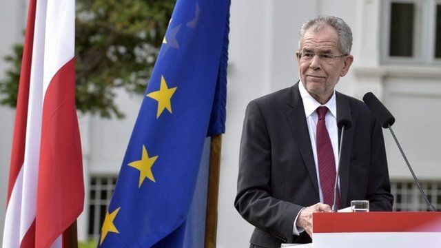 Austria's new president Alexander Van der Bellen delivers a first statement after the official announcement of the final result of the presidential election in Vienna, Austria
