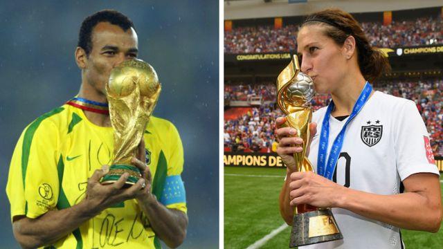 كابتن البرازيل كافو عام 2002 وكابتن فريق الولايات المتحدة لويد عام 2015