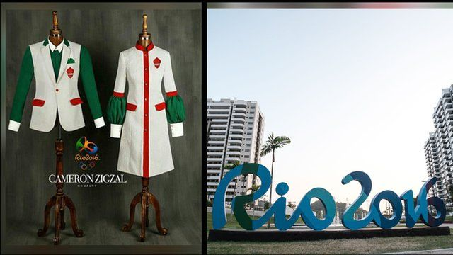 A split photo of the last designs for Iran's Olympics uniforms next to a Rio 2016 logo sculpture