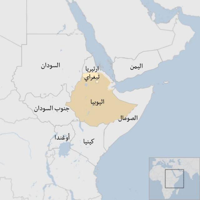 خريطة إثيوبيا والدول المجاورة