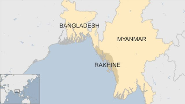 map of Myanmar showing Rakhine region and neighbouring Bangladesh