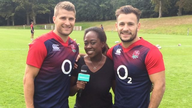 Ayshah with Richard Wigglesworth (Saracens) and Danny Care (Harlequins) two of England's scrum halves