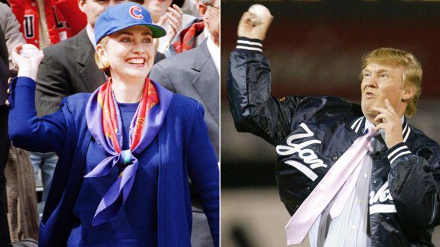 1994年4月にリグリー・フィールドでシカゴ・カブスのシーズン開幕の始球式に出席したクリントンと、2004年3月にニューヨーク・ヤンキースの試合で第一球を投げたトランプ。
