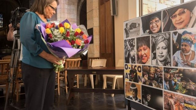 "Cape Town mayor Patricia de Lille brings flowers for a memorial at St George""s Cathedral for the late South African anti-apartheid campaigner Winnie Madikizela-Mandela"