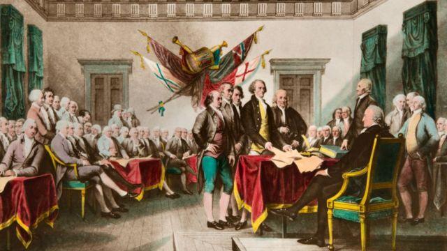 Ilustración de John Trumbull del acto de firma de la Declaración de Independencia de las 13 colonias