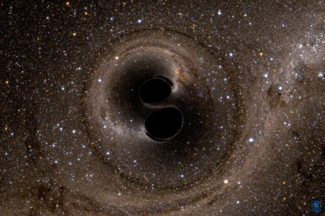 Two spiral black holes.
