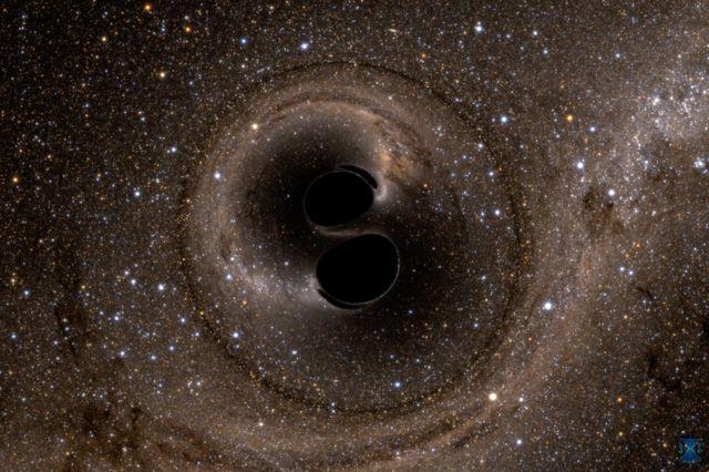 Dos agujeros negros en espiral.