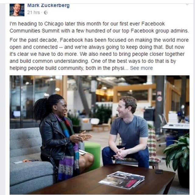 Le fondateur de Facebook Mark Zuckerberg a reçu la Nigériane Lola Omolola, fondatrice d'un groupe pour femmes Female In qui a atteint un million de membres.