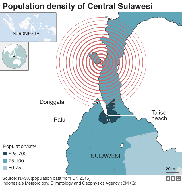 Map showing population density in Sulawesi