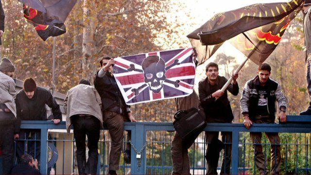 Protestors at Britain's embassy in Iran, in 2011