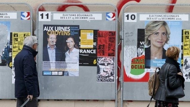 Campaign posters of candidates from the Ile de France region